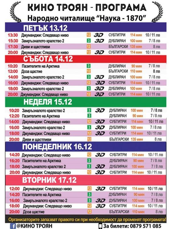 Програма Кино Троян (13 - 17 декември 2019)